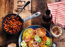 BBQ Pork and beans with fresh tomato salad