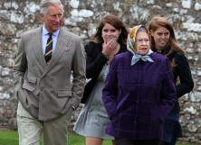 Prince Charles, Princess Eugenie, Princess Beatrice and Queen Elizabeth