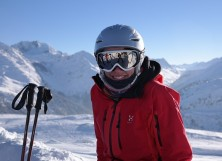 skier with snow goggles