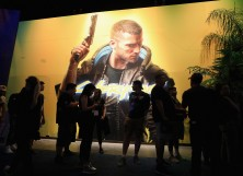 """Game enthusiasts and industry personnel visit the """"Cyberpunk 2077' exhibit during the E3 Video Game Convention at the Los Angeles Convention Center"""