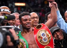 Erroll Spence Jr. in the ring after he defeated Shawn Porter in their IBF & WBC World Welterweight Championship fight at Staples Center