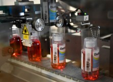 """Eludril mouthwash are seen on the production line at the plant of French multinational pharmaceutical company """"Pierre Fabre"""", in Gien"""