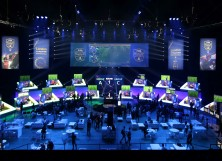 Players compete on Microsoft Xbox and Sony Playstation games consoles in the group stages of the FIFA eWorld Cup Grand Final