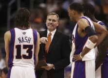 Steve Nash #13 of the Phoenix Suns discusses a play with head coach Mike D'Antoni