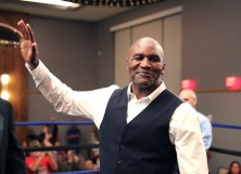 Evander Holyfield gestures during the Evan Holyfield v Travis Nero boxing match at Hard Rock Hotel Daytona