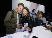 Creative Director Sam Evans (L) attends Samsung's Galaxy UNPACKED at The Palace of Fine Arts