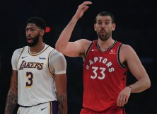 Marc Gasol #33 of the Toronto Raptors reacts to play in front of Anthony Davis #3 of the Los Angeles Lakers
