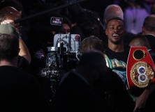 Errol Spence Jr. after a unanimous decision against Danny Garcia during their WBC & IBF World Welterweight Championship fight at AT&T Stadium