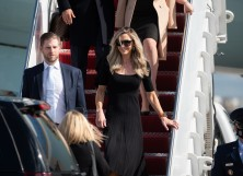 Eric Trump and Lara Trump exit Air Force One at the Palm Beach International Airport