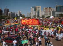 Citizens and members of different associations and parties gather during a protest against the government of President Jair Bolsonaro