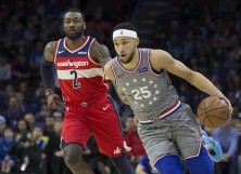 Ben Simmons #25 of the Philadelphia 76ers dribbles the ball against John Wall #2 of the Washington Wizards