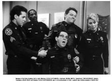 """CIRCA 1987: Actor Steve Guttenberg, Bubba Smith, Tim Kazurinsky, David Graf and actress Leslie Easterbrook on set of the movie """"Police Academy 4: Citizens on Patrol"""""""