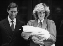 Diana Princess of Wales and Prince Charles with newborn Prince Harry
