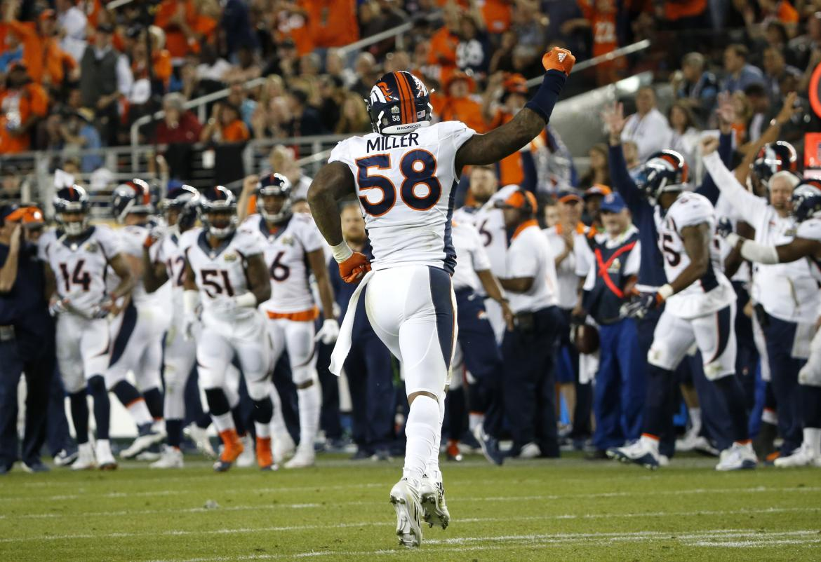 Von Miller Celebrates the Game Clinching Fumble
