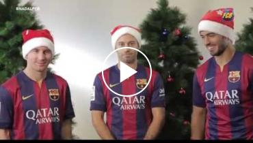 Lionel Messi, Luis Suarez And Javier Mascherano Want To Wish You A Merry Christmas!