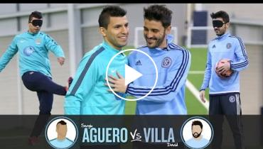Sergio Aguero And David Villa Compete In A Blindfolded Shootout; Guess Who Won?