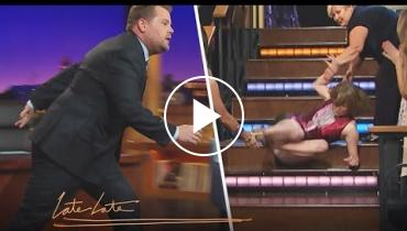 Major Epic Fail: Watch Katie Couric Slip And Fall Down Stairs On 'Late Late Show'